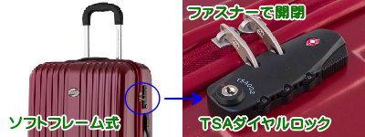 ソフトフレームのスーツケース