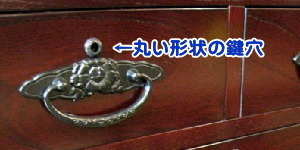 丸い形をした鍵穴が対象