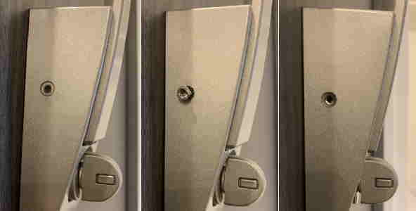 プッシュプルハンドル錠のネジ
